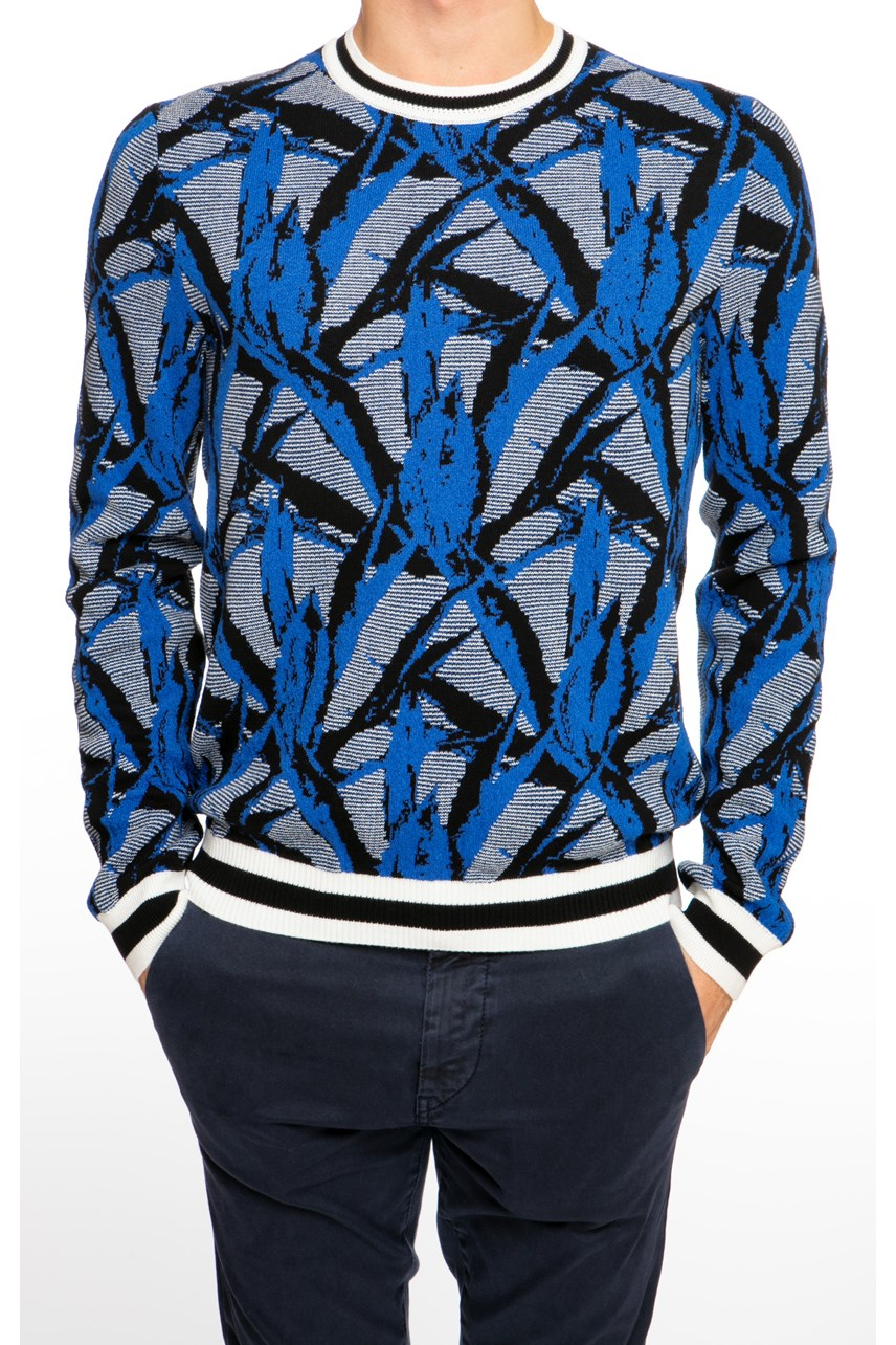 Leaf Print Contrast Trim Sweater