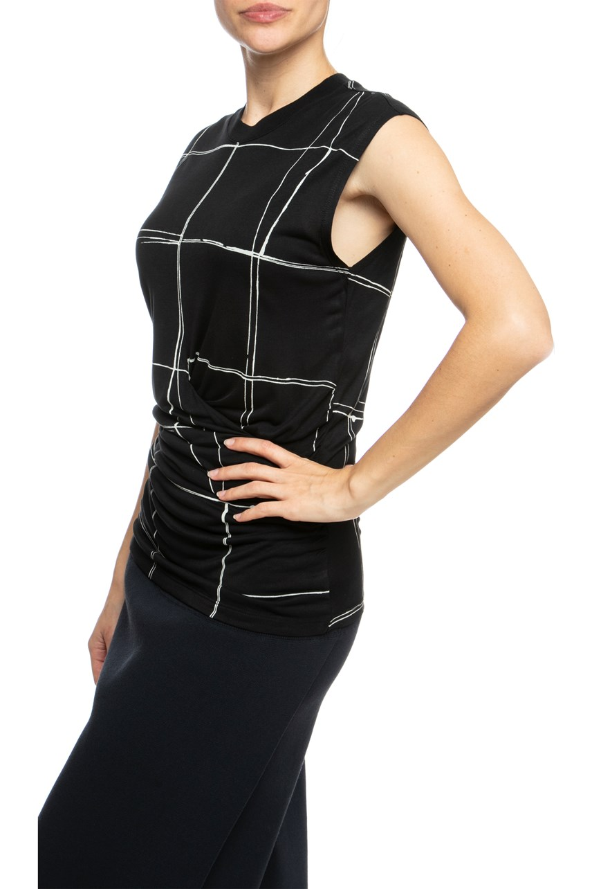 Monochrome Tank Top With Ruched Waist