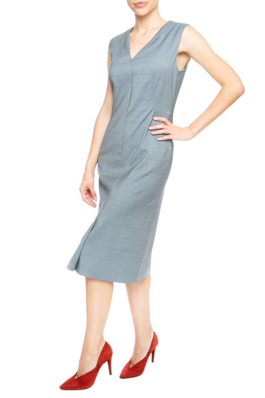 Check V-Neck Shift Dress