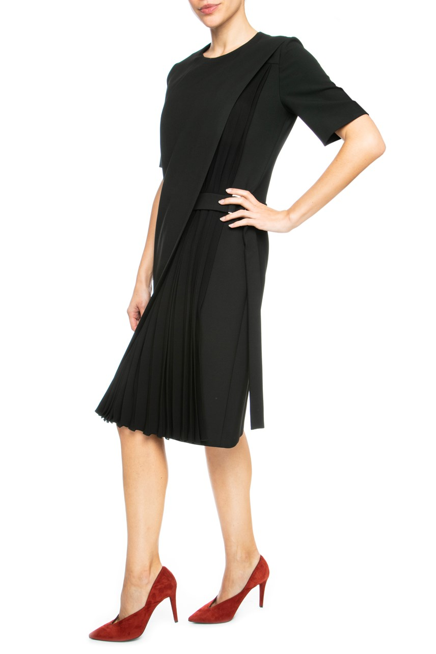 Layered Shift Dress With Pleats