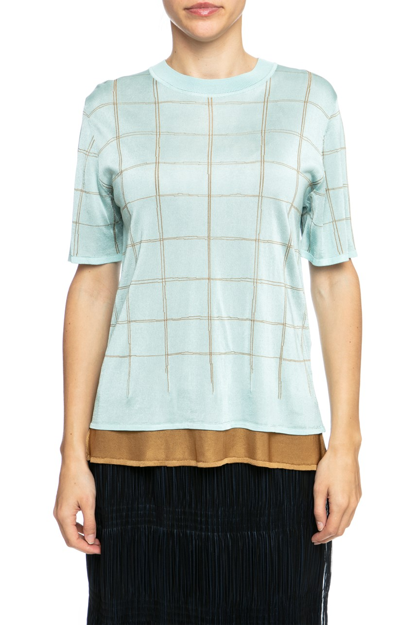 Double Layer Check Knit T-Shirt