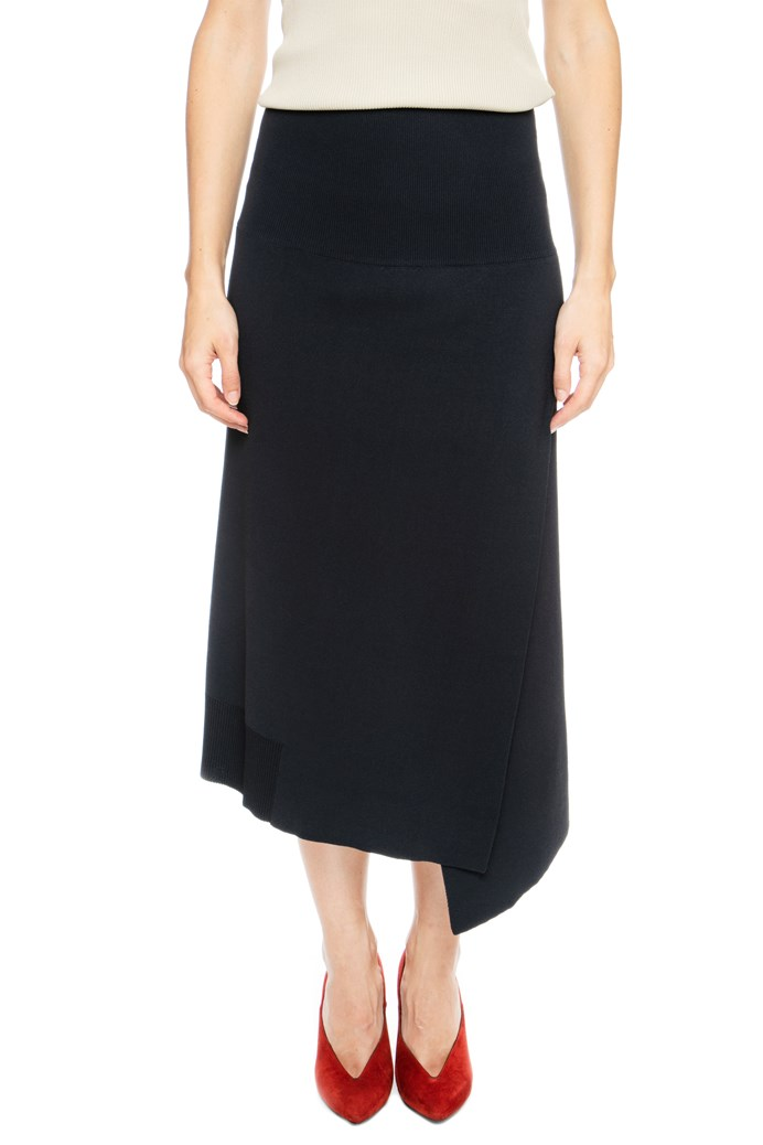 Asymmetrical Knit Midi Skirt