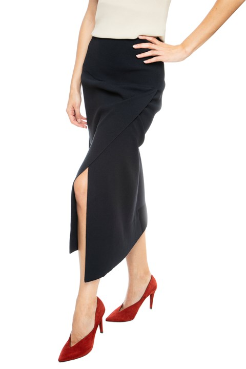 Asymmetrical Knit Midi Skirt - 480
