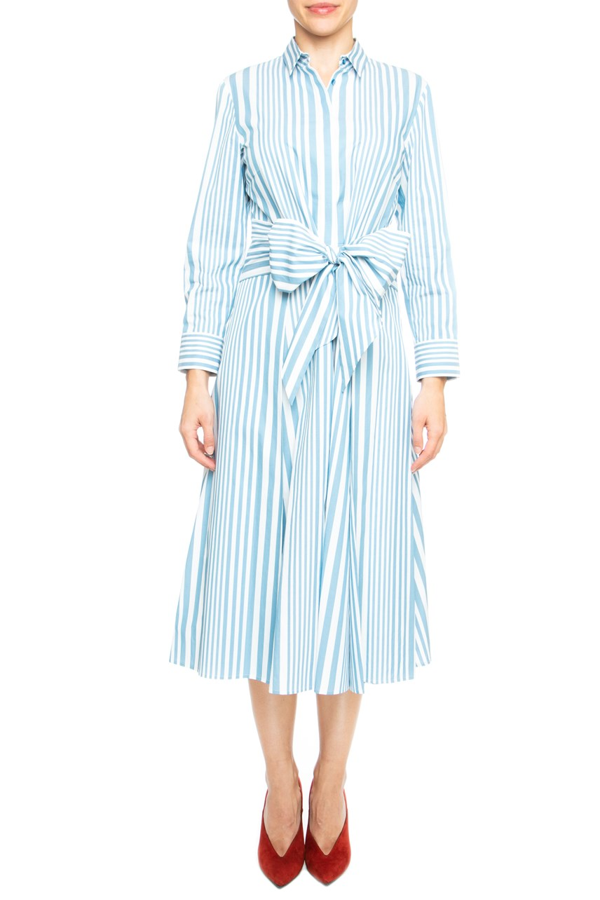 Striped Shirt Dress With Bow Detail
