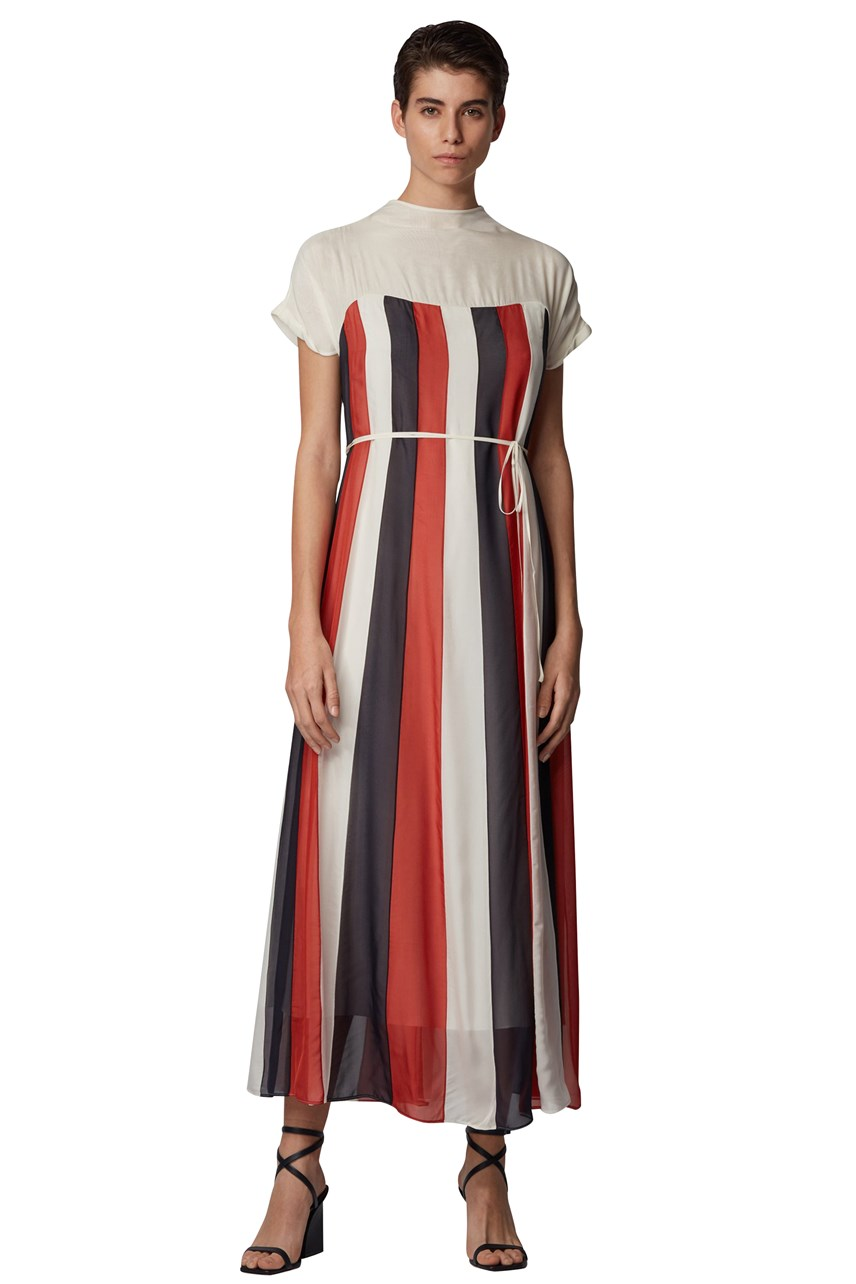 Dalentia Tie Belt Chiffon Maxi Dress