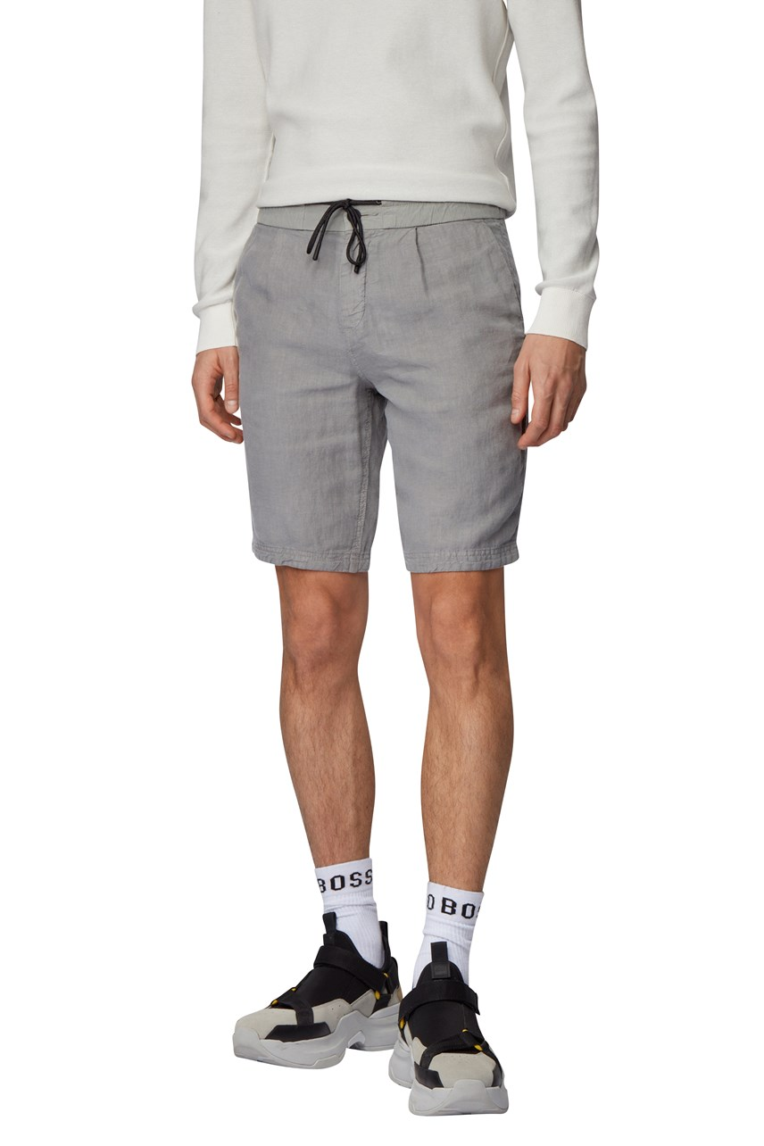 Symoon Tapered Fit Linen Drawstring Shorts