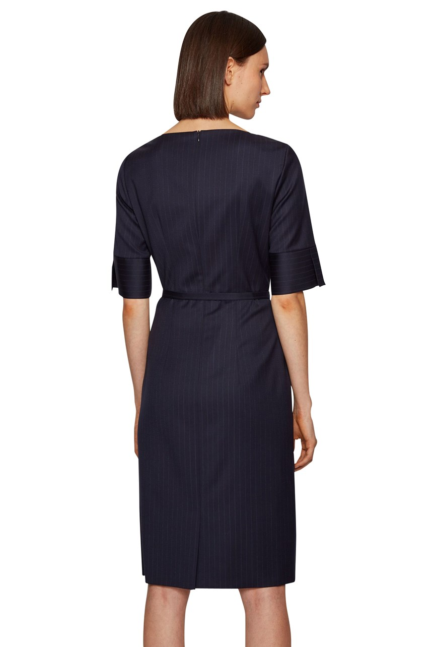 Dirusila Belted Pinstripe Dress