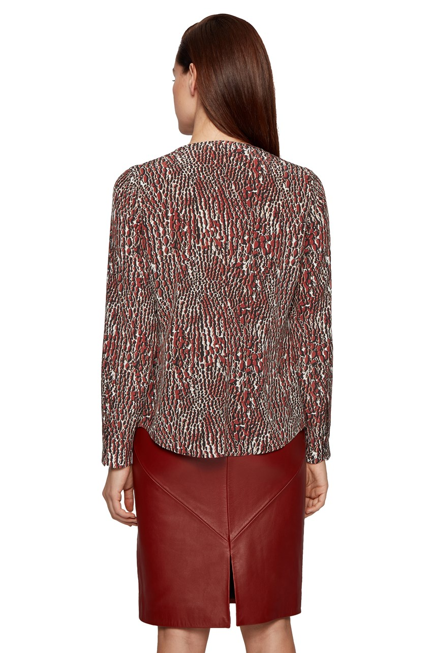Banora Crocodile Print Silk Blouse