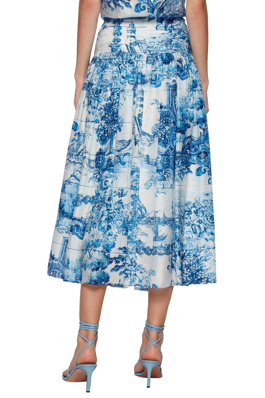 Vivilera Printed Silk Tie Detail Skirt
