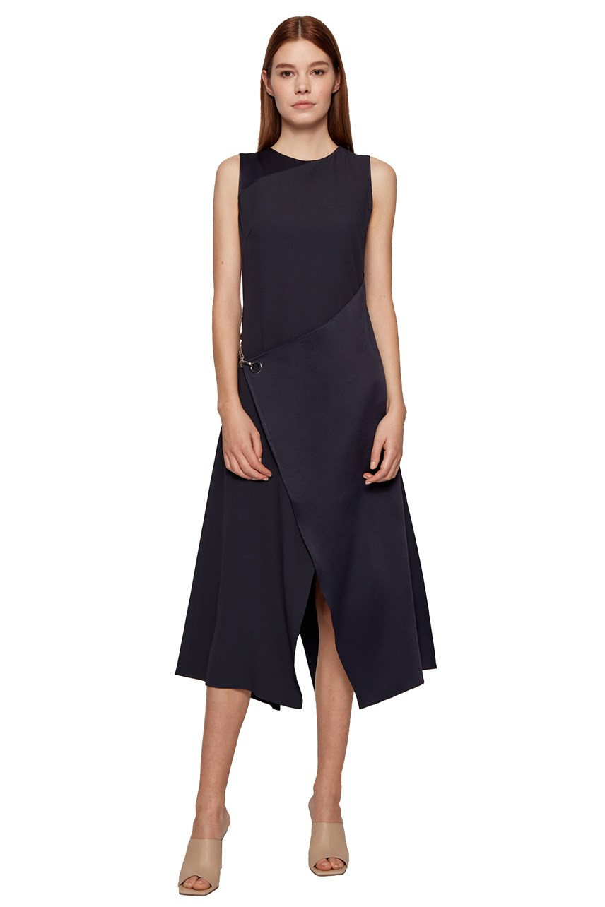 Dizura Sleeveless Asymmetric Wrap Dress