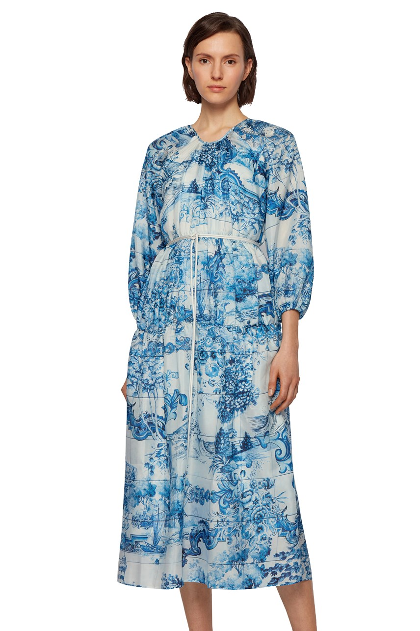 Divilera Printed Dress With Cord Belt