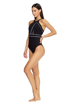 Classique High Neck Swimsuit - black/white