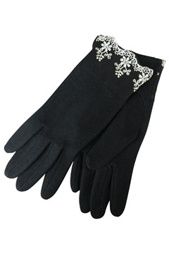 Tinkerbell Knit Gloves with Brocade Detail BLACK 1