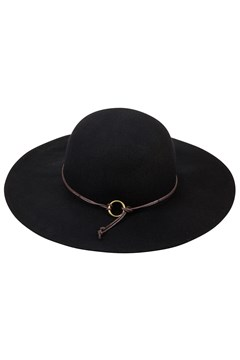 Floppy Felt Hat with Tie and Ring BLACK 1
