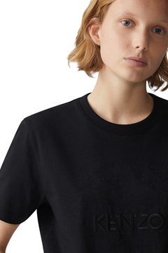 Loose Fit Embossed Tiger T-Shirt - black