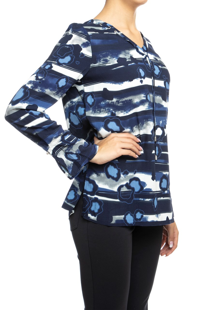 Tie Neck Print Tunic Top