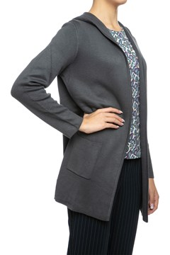 Open Front Hooded Knit Cardigan - platinum gy