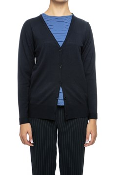 Ribbed Hem Knit Cardigan - navy