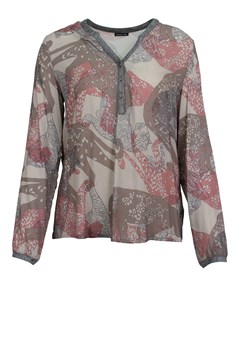 Multi Print Sheer Blouse ROSE BWN TAU 1