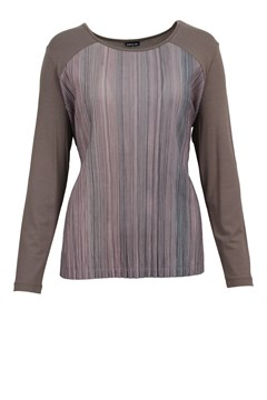 Mini Pleat Contrast Sleeve Blouse BROWN ROSE 1