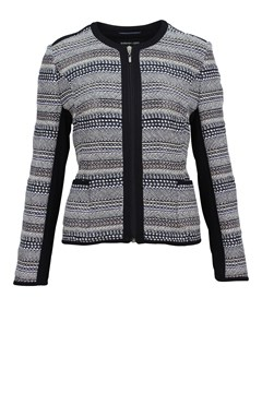 Textured Stripe Zip Up Jacket NAVY BEIGE 1