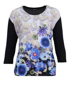 Flowers Contrast Sleeve Top NAVY FLOWERS 1