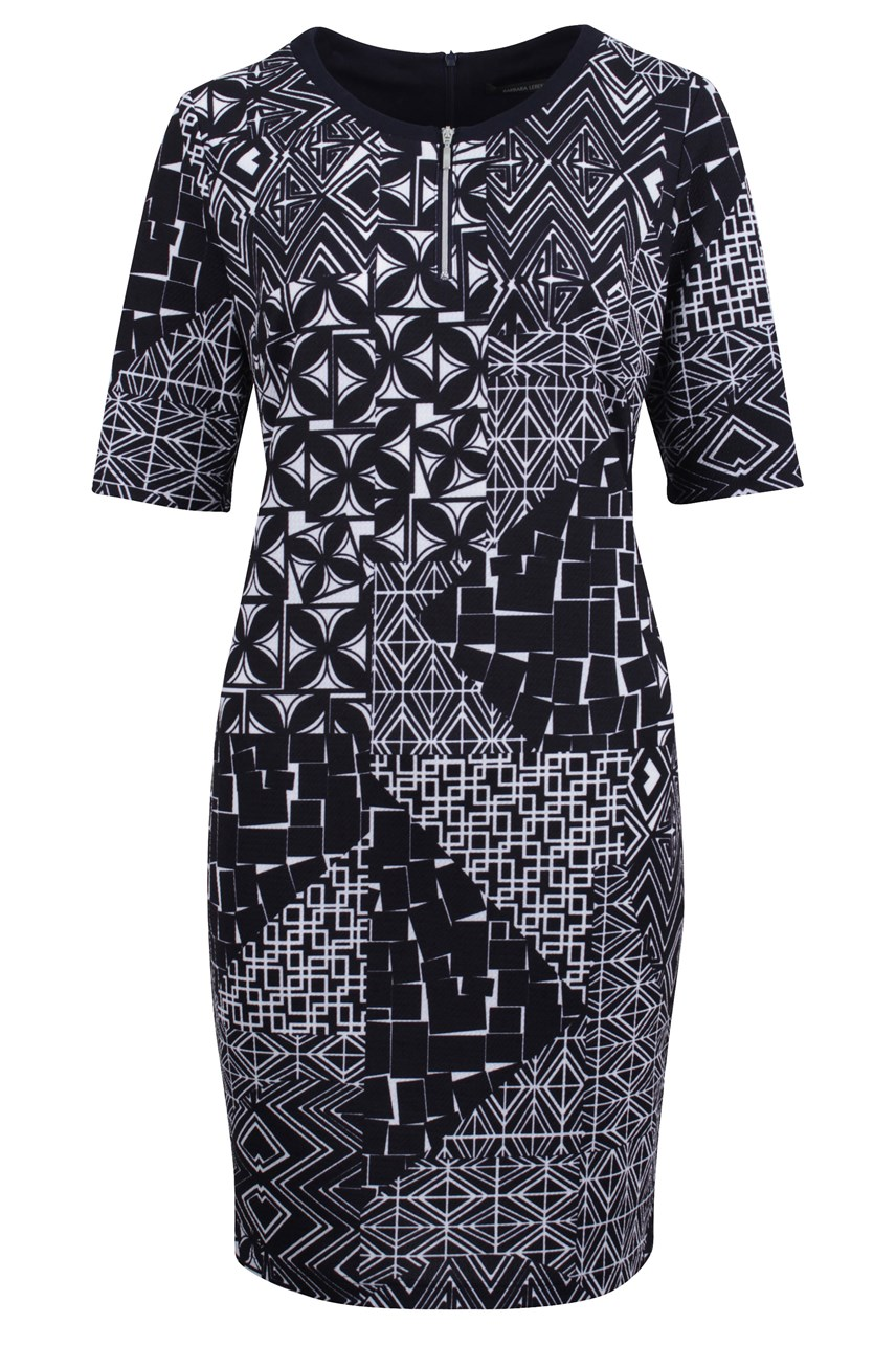Patterned Short Sleeve Dress