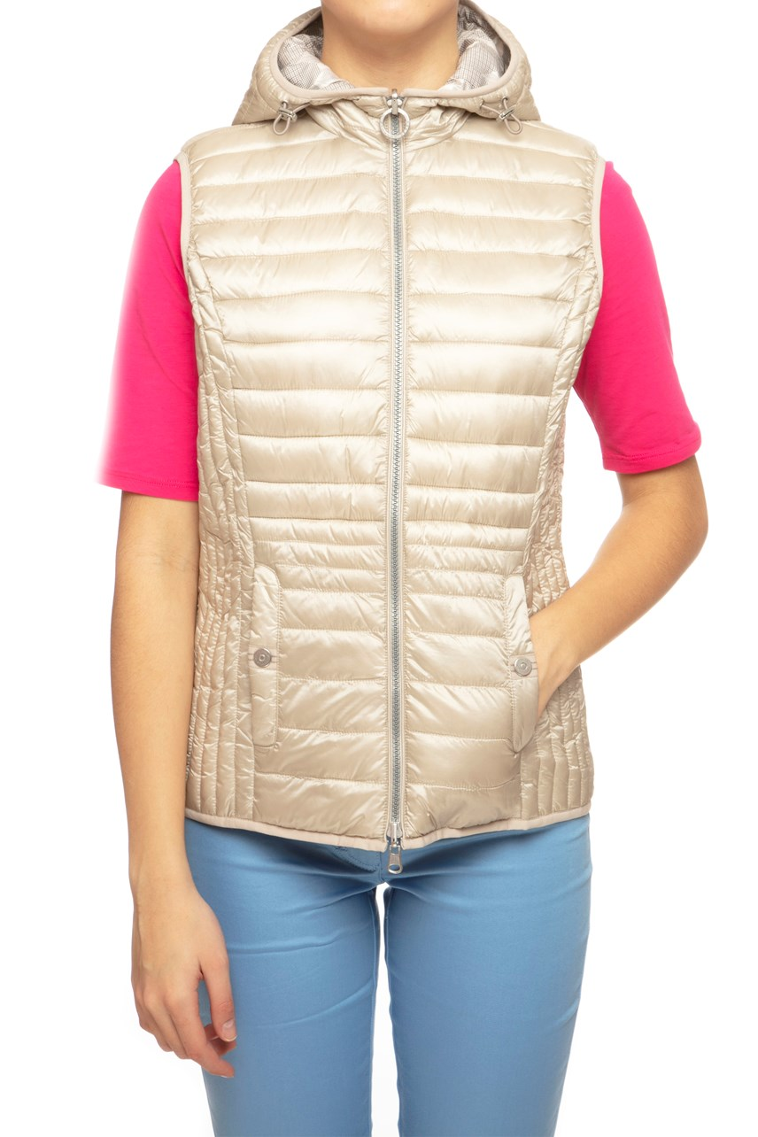 Reversible Quilted Vest With Hood