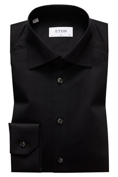 Slim Fit Twill Cut Away Shirt 18 BLACK 1