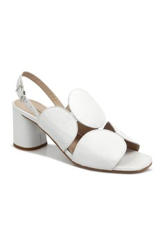 Chad Mid Heel Leather Sandal BIANCO 1