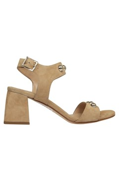 Suede Sandals with Studs - tabacco