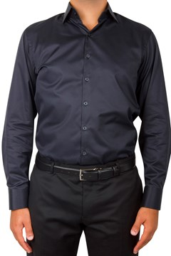 Plain Twill Business Shirt 099 BLACK 1