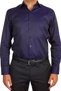 Plain Twill Business Shirt 263 NAVY 1