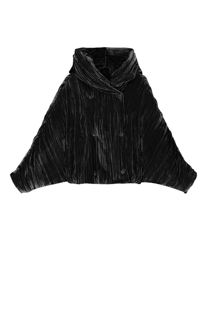 Pleated Velvet Padded Jacket