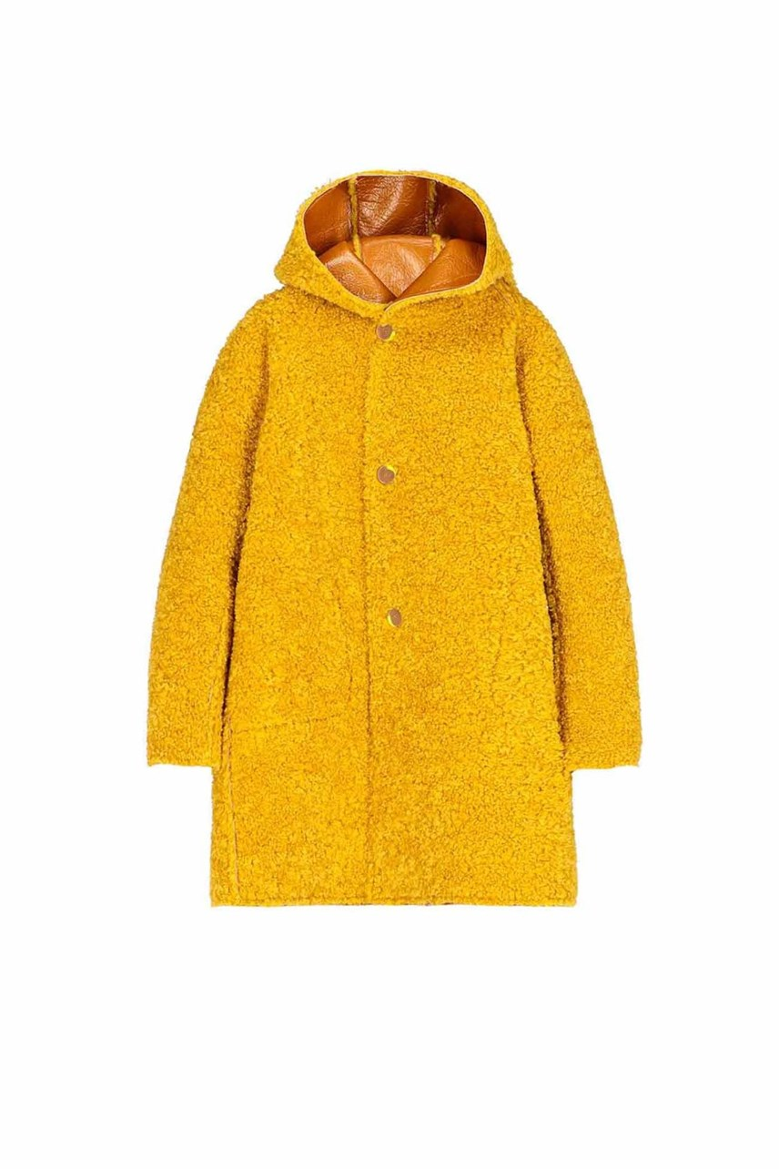 Reversible Patent Sheepskin Coat
