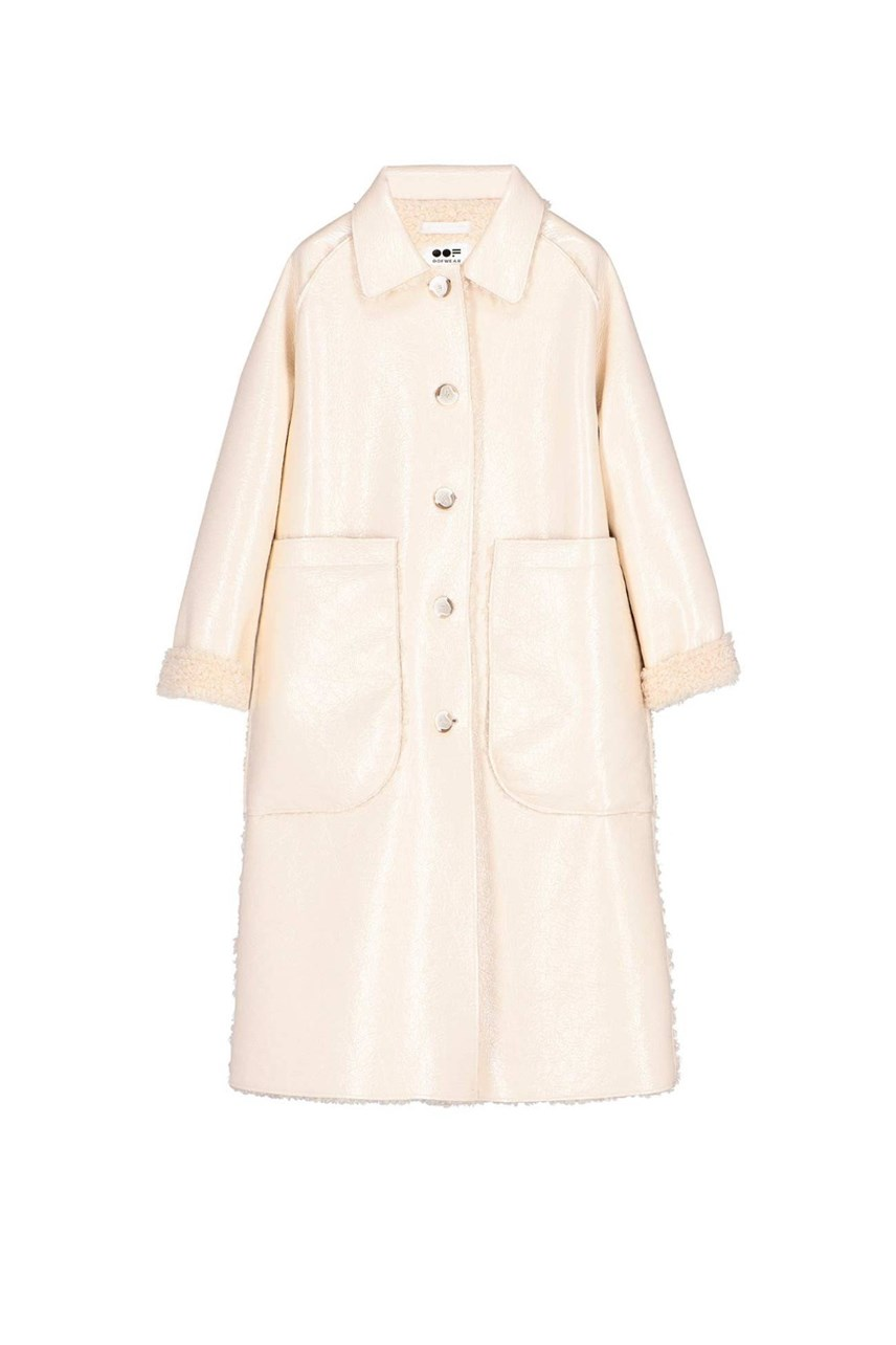 Reversible Oversized Patent Sheepskin Coat