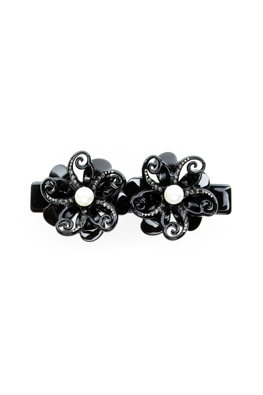 Flower Duo Hair Clip with Cubic Zirconia Detail