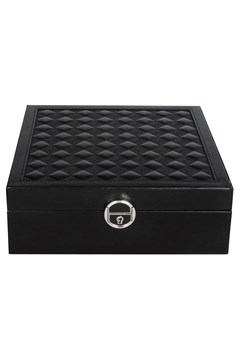Quilted Top Square Jewellery Box BLACK 1