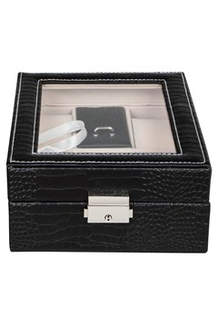 Croc Print Jewellery Box BLACK 1