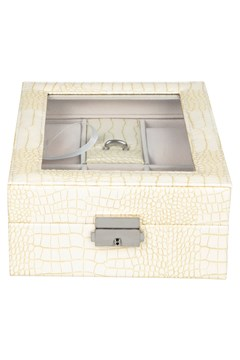 Croc Print Jewellery Box CREAM 1