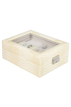 Croc Print Jewellery Box - cream