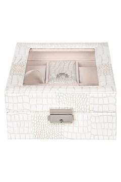 Croc Print Jewellery Box WHITE 1