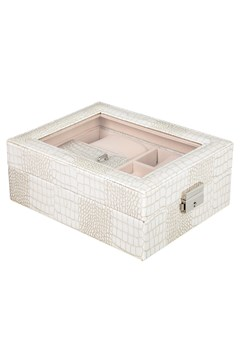 Croc Print Jewellery Box - white