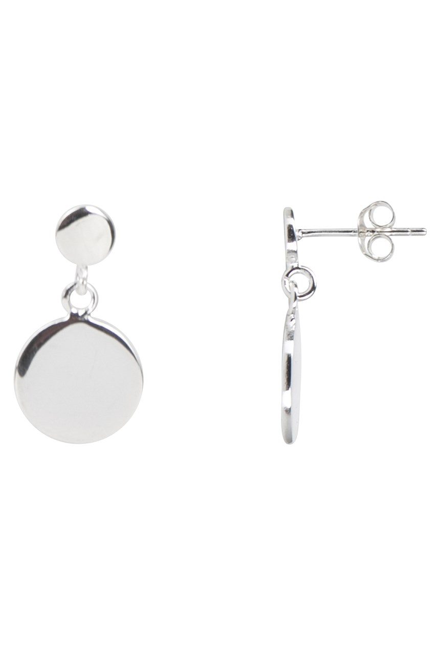 Flat Disc Drop Earrings