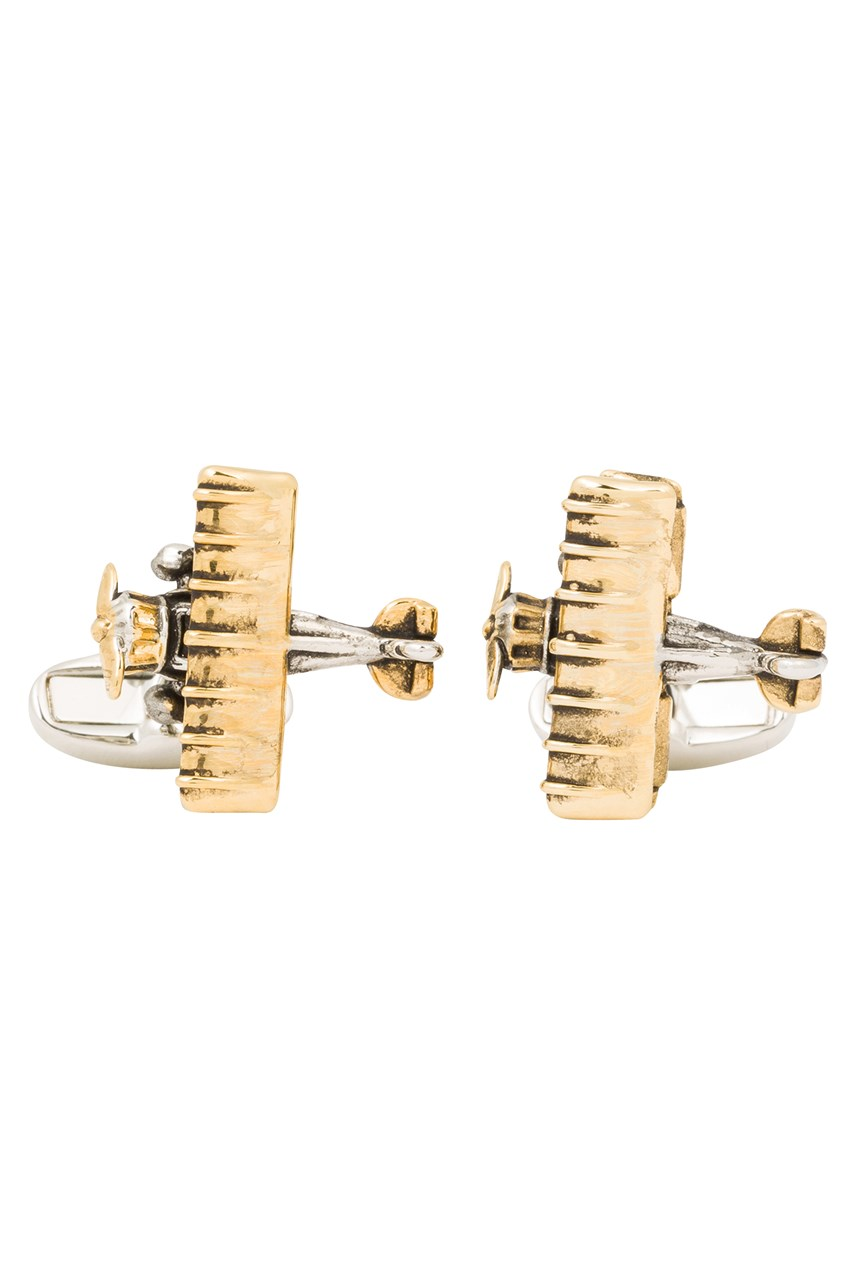 Silver and Gold Aeroplane Cufflinks