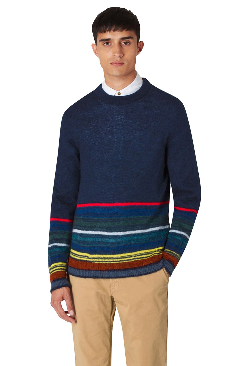 Striped Border Crew Neck Pullover