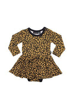 Leopard Long Sleeve Waisted Dress MUSTARD 1