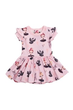 Tiny Dance Short Sleeve Baby Waisted Dress AT PINK 1