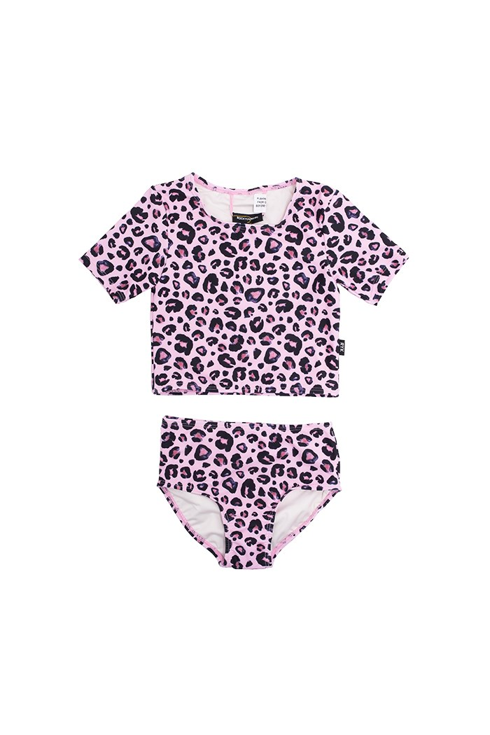 Pink Leopard Crop Swim Set