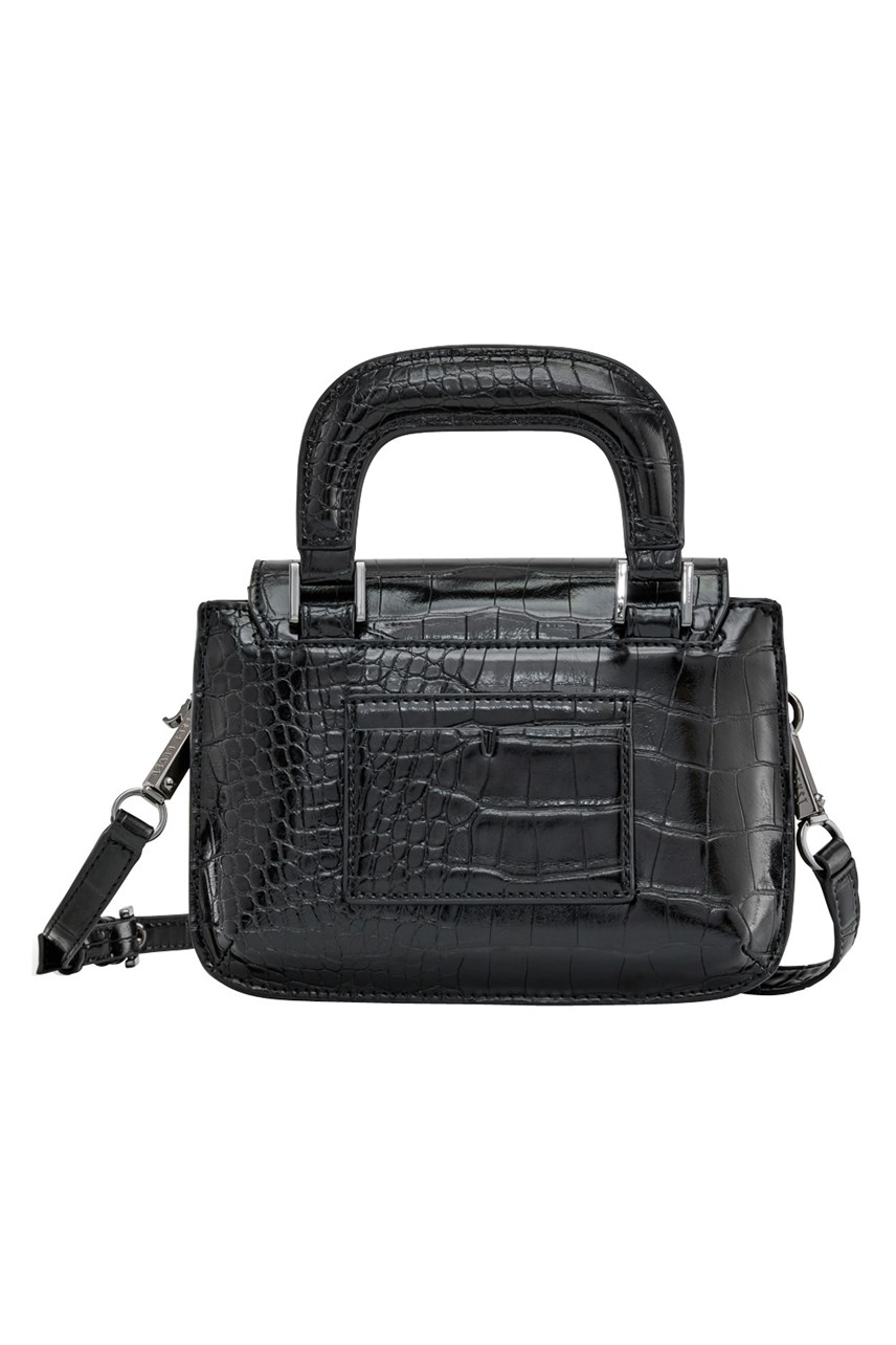 Noir Alligator Reader Satchel Bag